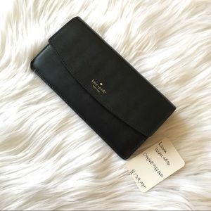 Kate spade black liona envelope wallet